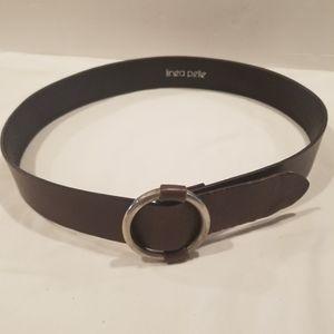 LINEA PELLE Leather Round Buckle Belt